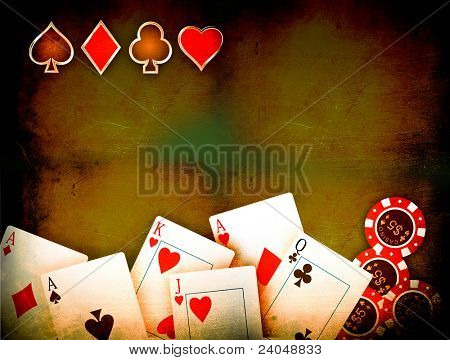 Vintage playing cards on a dark background with some poker chips
