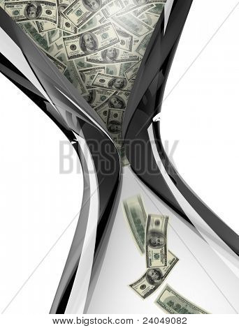 hourglass with dollar bills