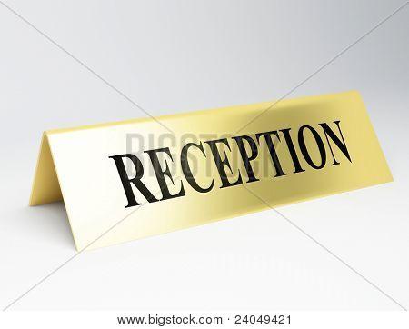 Hotel Reception desk sign