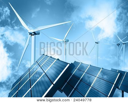 Windpark und Solar-panel