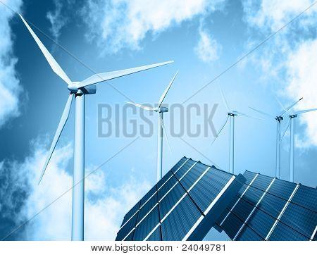 Windparks und Solar-panel