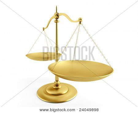 Brass Scales of Justice over white