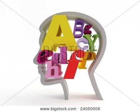 Letters in head.