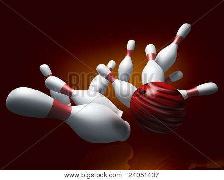 A fun 3d render of a bowling ball crashing into the pins