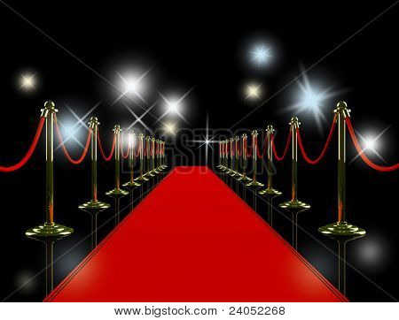 Red carpet at night.
