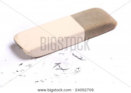 Pencil eraser and eraser leftovers