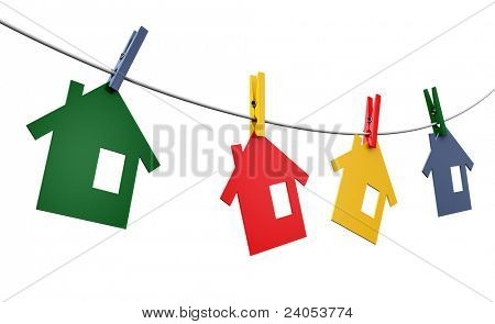 clothespins and homes on the line