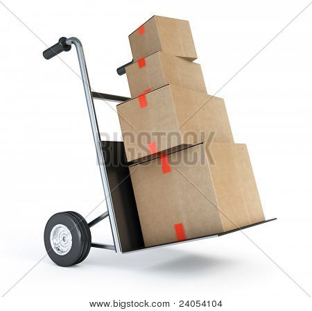 barrow truck and carton boxes