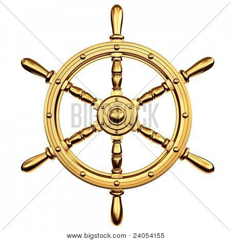 golden ship's steering wheel