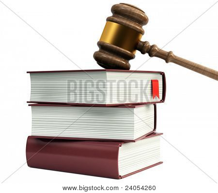 Wooden gavel from the court and law books