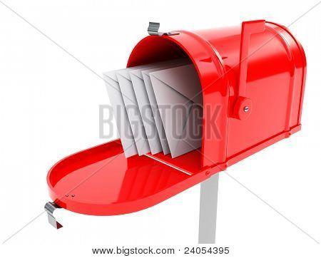 caixa de correio vermelha com e-mails