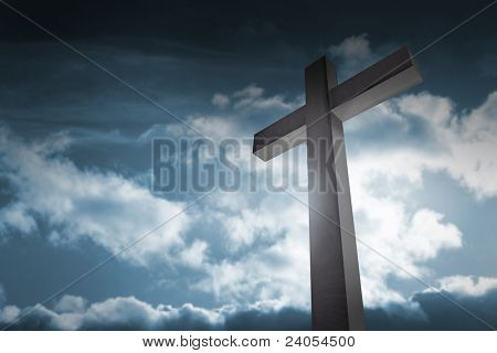 cross on dark sky