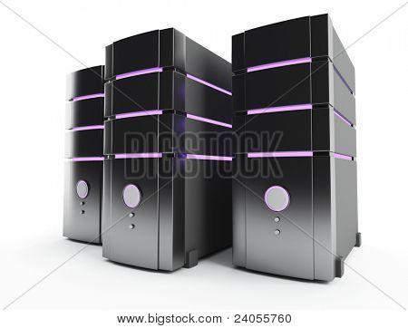 3D Bauernhof Servercomputer auf weiß