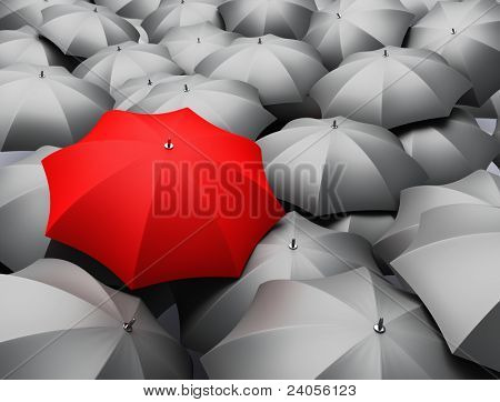 3d render of sea of umbrellas
