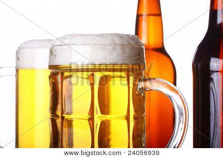 Two glasses and Bottles of fresh light beer