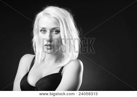 Blonde Model In Black And White Picture