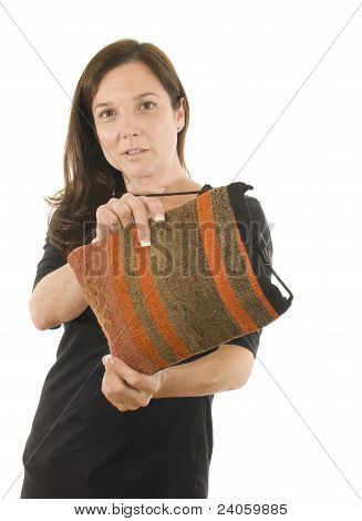 Woman Turkish Kilim Woven Hand-bag Pocketbook