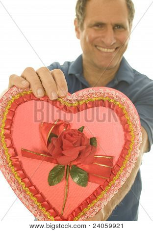 Selective Focus Valentine Candy Box Middle Age Man
