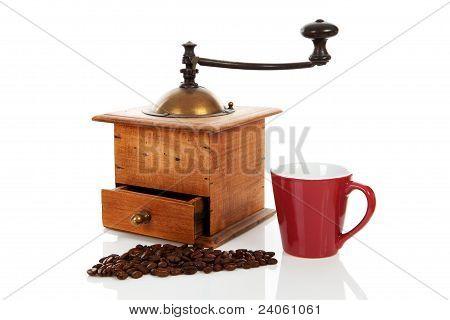 Old Wooden Vintage Coffee Grinder