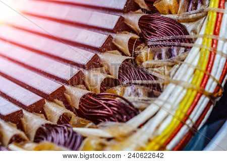 poster of Electric Motor Stator With Winding Coil , View Of Inside Of Electric Motor.