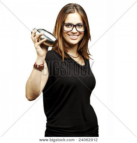 portrait of young woman shaking cocktail over white background