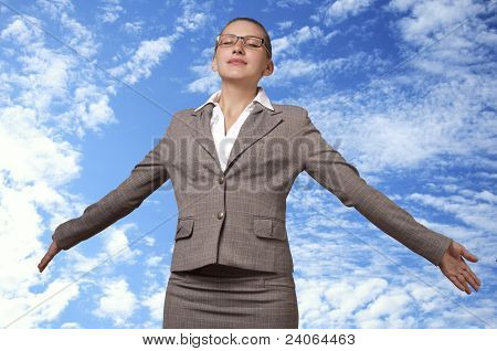 Young Woman Takes Off Into The Sky