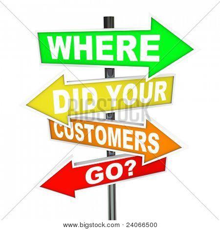 Vários rua seta colorida assina com palavras onde seus clientes foi uma pergunta a fazer se