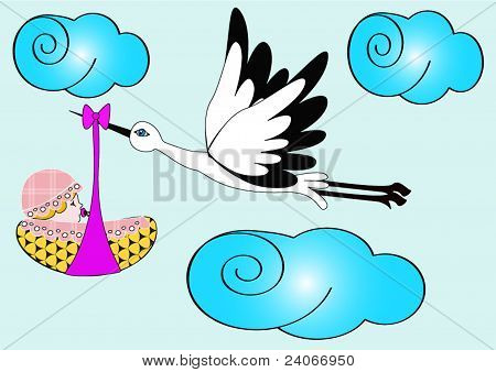 Stork Carries Newborn Child In Sky