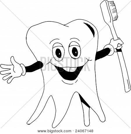 Dente com escova