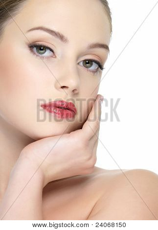Sexy Beautiful Woman With Bright Red Lipstick