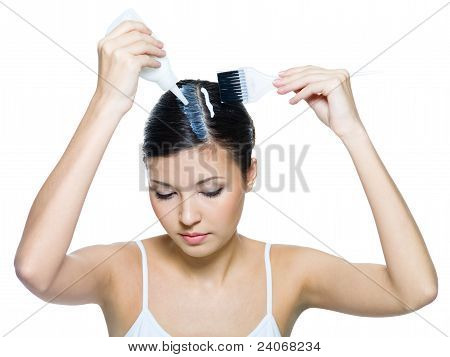 Young Woman Dyeing Hairs