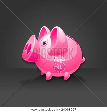 Rosa Hucha con signo de dólar. Fondo negro.
