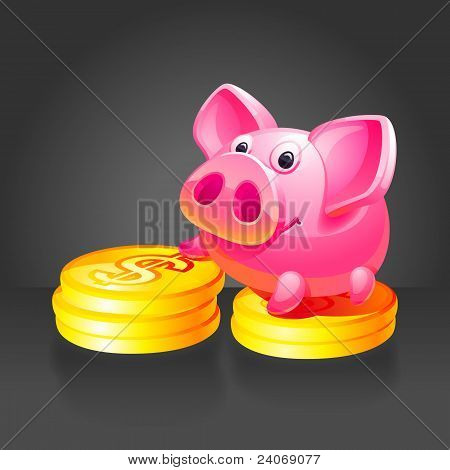 Pink Piggy Bank With Gold Coins. Black Background.