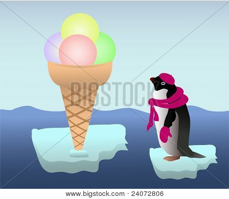 Penguin with an icecream