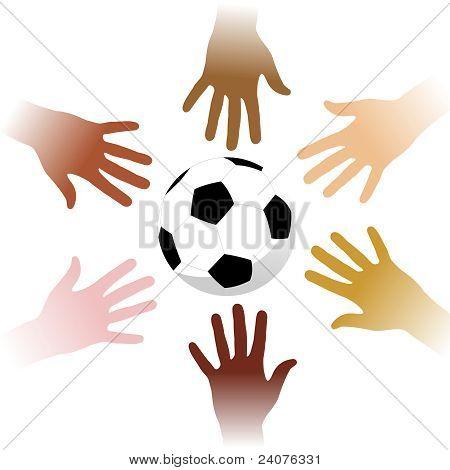 Hands Around A Soccer Ball
