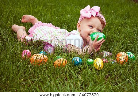 Easter Baby Hold Egg Lay