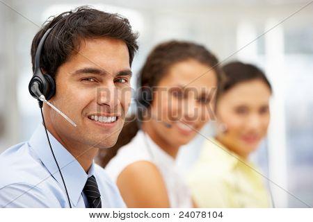 Businessman wearing headset