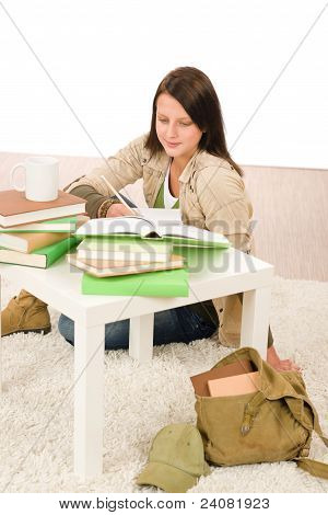 Student Girl Studying Home Sitting On Floor