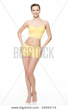 Happy Young Woman  With Perfect Slim Body