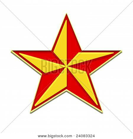 A five-pointed star, red and yellow on a white background