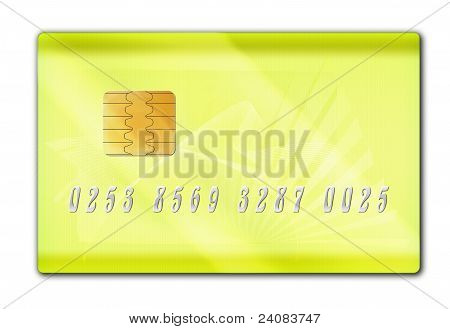 Plastic bank gold card on a white background