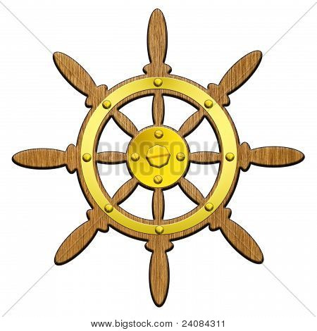 helm (steering wheel), the ship on a white background