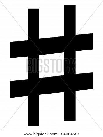 Diez, un símbolo de la música sobre un fondo blanco