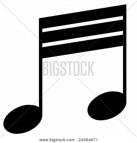 Thirty-second note on a white background (musical symbol)