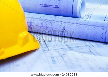 Architect Design Printout And Safety Helmet