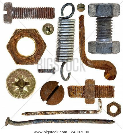 Old Rusty Screws Heads Nails Hook Spring