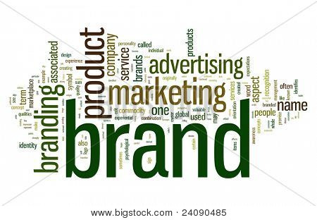 Brand related words in word tag cloud isolated on white