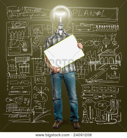 empresario de cabeza lámpara sostienen tarjeta de escritura vacía en sus manos