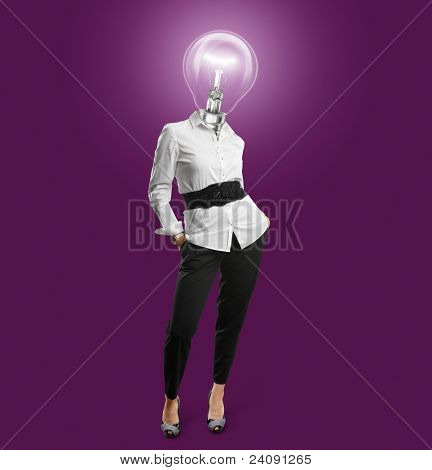 lamp head businesswoman have got an idea