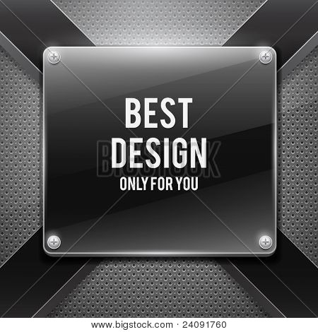 Black glossy plate with cross on metal grid(vector illustration)